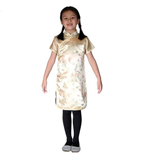 Cinda Mädchen Satin Drache und Phönix Chinesische Kleid Gold 158-164