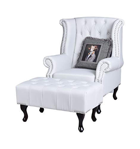 Chesterfield Ohrensessel mit Hocker Weiss Kaminsessel Lesesessel Fernsehsessel Palazzo Exklusiv
