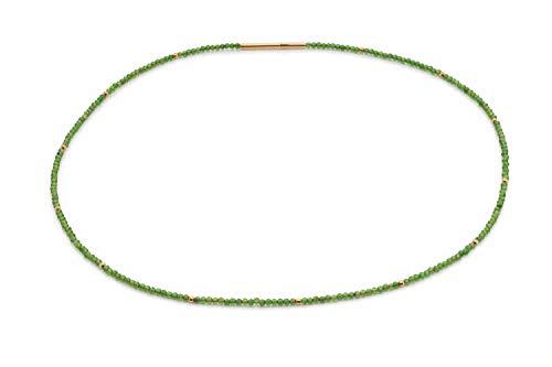 Chromdiopsit Edelstein Collier - hochwertige Goldschmiedearbeit aus Deutschland (Sterling Silber 925) mit Sicherheitsverschluss und Wert Expertise