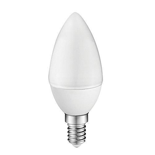 Ampoule LED C30 bougie, 6W (équivalent à 50W), lumière chaude (3000K) non dimmable. E14. 470 Lm. 25000 heures de vie. Allumage ultra-rapide (allumé à 100 % dans 0.5 sg). [Classe d'efficacité énergétique A+]