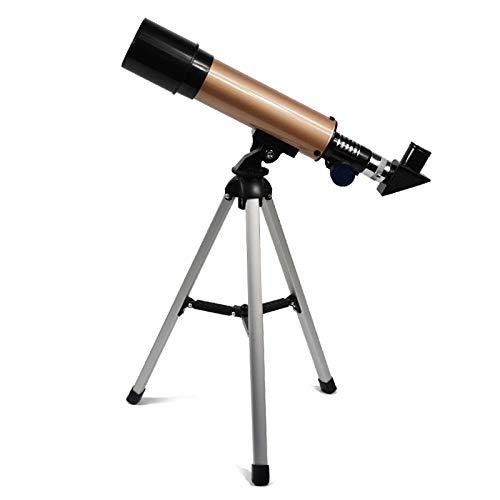 Telescopio Astronmico Monocular para Exteriores con Trpode Porttil, Telescopio Telescpico De 360/50 Mm Dorado