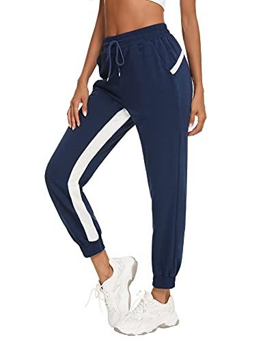 Wayleb Pantalones Deportivos Mujer Verano Pantalon de Jogging Mujer Pantalon Chándal de Algodón con Bolsillos y Cordón para Fitness Casuale