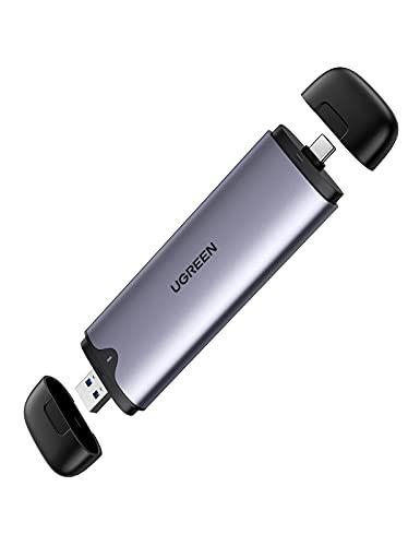 UGREEN Carcasa M.2 NVMe USB C + USB 3.0 2 En 1, Caja SSD M.2 NVMe PCIe USB 3.1 con UASP, 10Gbps Adaptador M.2 a NVMe para M.2 NVMe SSD M Key B+M Key 2242/2280, para Macbook Pro PS5 Xbox PC Smart TV