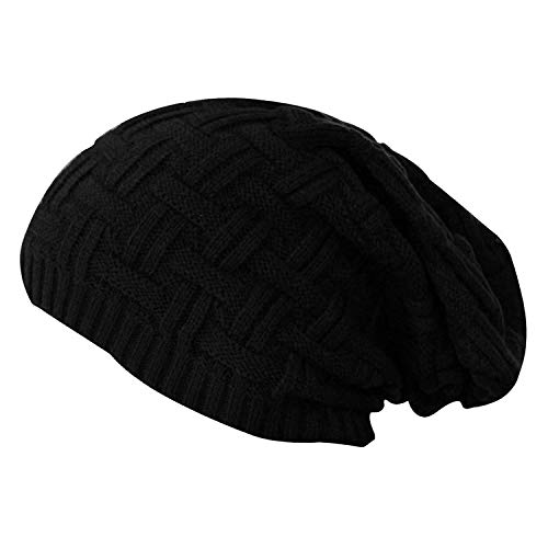 DELHITRADERSS® Knitted Slouchy Beanie Woolen Cap for Men & Women(Black)