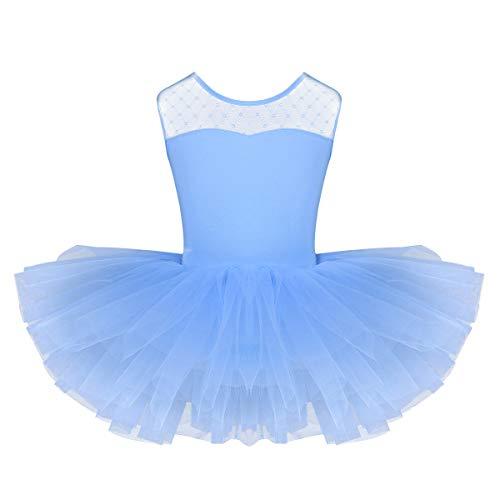 iixpin Ragazza Leotard Vestito Ballerina Bambina con Tutu Danza Classica Balletto Dancewear Body Ginnastica Artistica Senza Manica Abito da Ballo Latino Azzurro 8 Anni