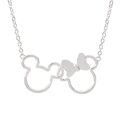 Disney Mickey and Minnie Mouse Jewelry for Women, Silver Plated Interlocking Mickey and Minnie Mouse Pendant Necklace; silver