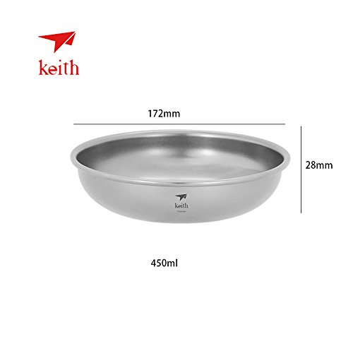 Keith Titanplatte, 150 ml ~ 450 ml, Outdoor-Geschirr, Camping, Reisen, ultraleicht, 450 ml - TI5368