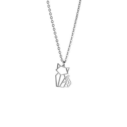 La Menagerie Katze Silber, Origami-Schmuck & versilberte geometrische Kette - 925 Sterling Silberkette & Katze-Halsketten für Frauen - Katze-Halskette für Mädchen & Origami-Halskette