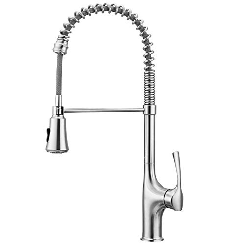 Product Image of the Primy Commercial Kitchen Faucets With Pull Down Sprayer Modern Heavy Duty Lead-Free Single Handle High-Arc Kitchen Sink Faucet With Deck Plate, Solid 304 Stainless Steel