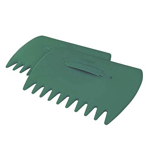 goodjinHH Handheld Broom Greifzange Gartenrechen - Arbeitsbreite 33cm, 10 Zinken - für Säubern Rasenflächen, Blätter, Müll, Laub rechen (Grün)