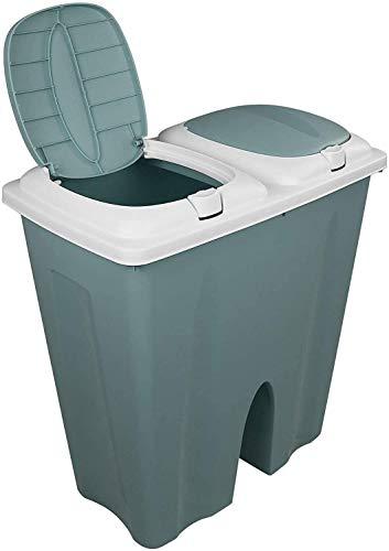 DRULINE Mülleimer Duo 2x25L Pastell mit Deckel und Farbwahl Abfalleimer Müllsammler Abfallbehälter Trennsystem Müll Eimer Deluxe Doppelmülleimer Papierkorb Müllsackständer Kosmetikeimer Grün
