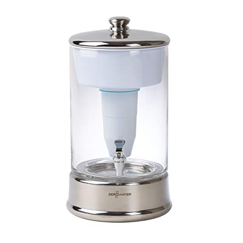 ZeroWater (ZBD-040-1) 40 Cup Ready-Pour Glass Dispenser, BPA-Free, with Free Water Quality Meter, NSF Certified to Reduce Lead and Other Heavy Metals,Clear/Chrome