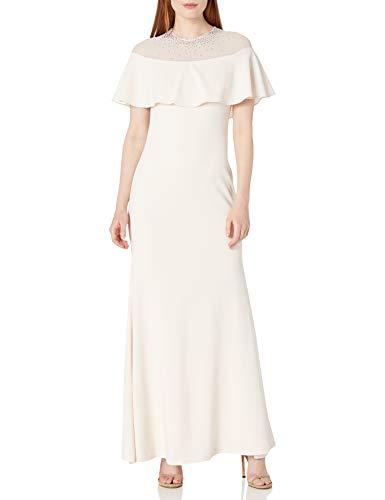 Calvin Klein Women's Pop Over Gown with Illusion Neckline
