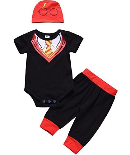 Baby-Kleinkind-Jungen-beiläufige Ausstattungs-Klage-Krawatte Romper + Pants + Print Hat 3pcs / set 0-18M (Size : 60)