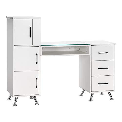 MCombo - Mesa de trabajo multifuncional con cajones y compartimentos de almacenamiento de varios niveles para oficina en casa, oficina y colegio, color blanco