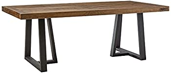 Alpine Furniture Prairie Dining Table 84  W x 42  D x 30  H Reclaimed Natural and Black Finish