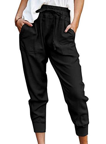 CORAFRITZ Pantalones deportivos de color sólido para mujer, con cordón en la cintura, bolsillos laterales, puños elásticos, pantalones de trabajo