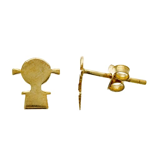 Córdoba Jewels   Pendientes en Plata de ley 925 bañada en oro con diseño Niña Gold