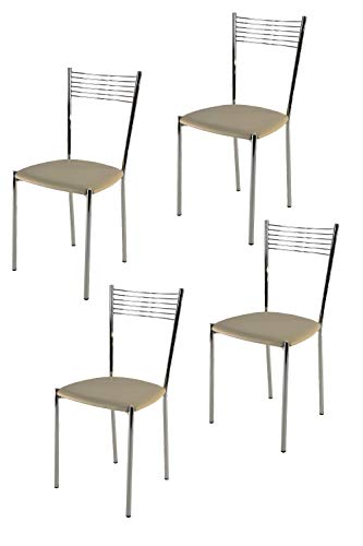 Tommychairs - Set 4 sedie modello Elegance per cucina bar e sala da pranzo, struttura in acciaio...