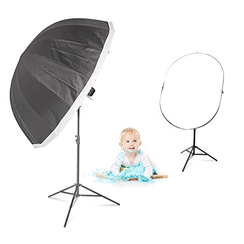 CITI600 PRO Cake Smash Baby Photography Kit 160cm Parabolic Umbrella, Reflector Studio 240cm Soporte 600W Ultra-Fast Estable Flash HSS TTL Batería