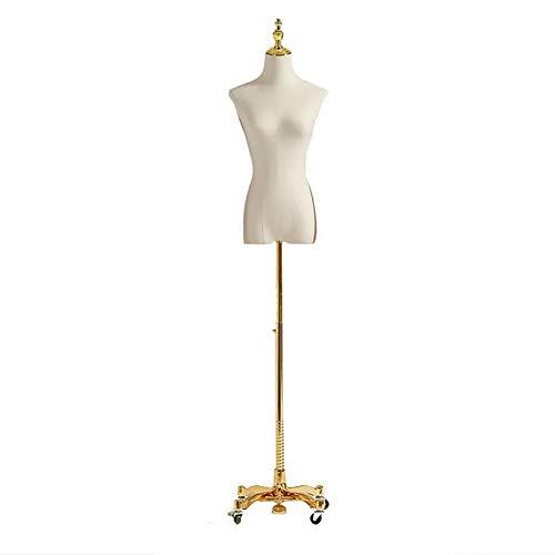 Schneiderpuppe Kleiderpuppe Weibliche Form Mannequin Body Torso,mit Goldenen Lenkrädern, Höhenverstellbarer Halber Mannequin Torso für Kleiderpullover (Size : S)