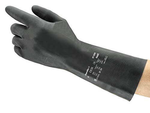 Ansell AlphaTec 87-950 Latex Guante contra productos químicos, Negro, Tamaño...