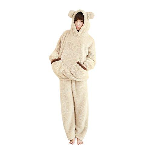 Elonglin 可愛い 着ぐるみ レディース パジャマ ルームウェア 上下 セット もこもこ ふわふわ 熊 耳付き 柔い 肌触り 動物パジャマ 部屋着 寝間着 ベージュ ブラウン 大きいサイズ M-3L