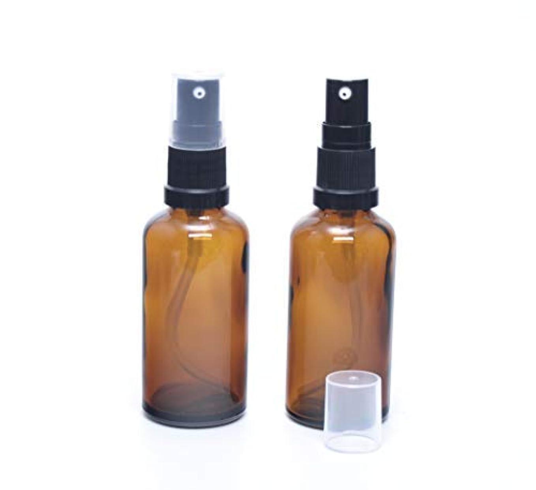 一元化する電気のゴルフ遮光瓶 (硝子)ポンプボトル 50ml (フィンガープッシュタイプ) / アンバー × 2本セット