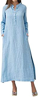 Romacci Women Casual Long Shirt Dress Button Down Long Sleeves Slit Cotton Long Maxi Dresses with Pockets Light Blue