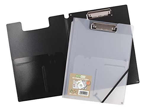 Ecoeco - Cartella per appunti in formato A5, 50% riciclata, con tasca interna e posteriore, portapenne, 6 nero, 6 trasparenti (confezione da 12), eco105 x 12
