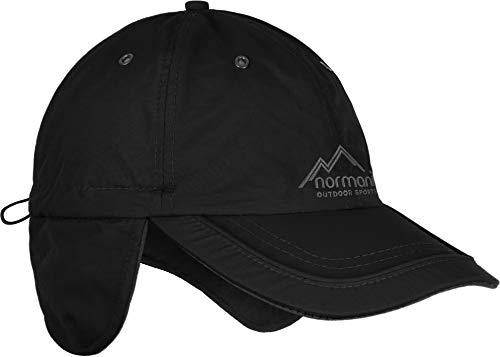 normani Wintermütze Cap verstellbar mit Ohrenschutz und Fleece-Innenfutter Farbe schwarz