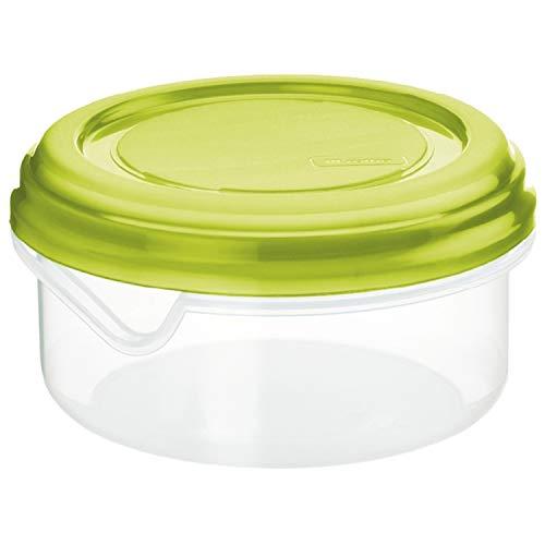 Rotho Rondo Scatola rotonda da 0.4 l con coperchio, Plastica PP senza BPA, Transparente/Verde, 0.4l 12.0 x 12.0 x 6.5 cm