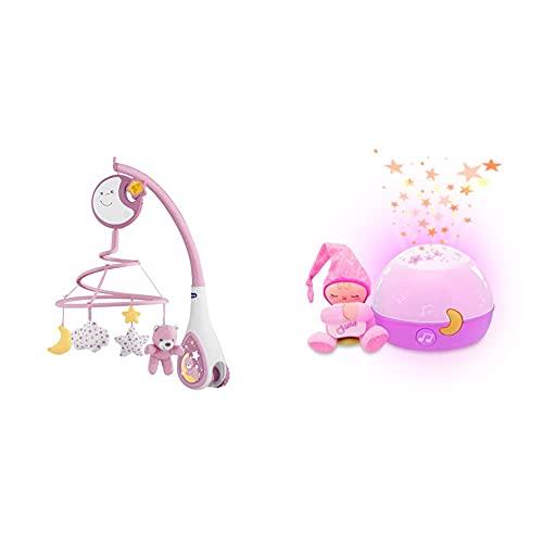 Chicco Next2 Dreams Móvil De Cuna + Buenas Noches Estrellitas Rosa, Lámpara Bebé Multicolor con Luz Quitamiedos Y Proyector De Estrellas
