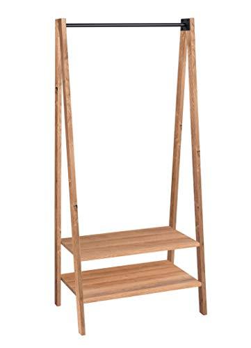 HomeTrends4You Carry Garderobe/Standgarderobe/Kleiderständer, massiv geölt, Ablageplatten Echtholz Wildeiche furniert, braun, 75x55cm, Höhe 176cm