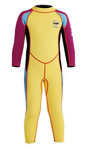 DIVE&SAIL One Piece Muta in Neoprene da Sub 2.5mm Wetsuit Manica Lunga da Bambino per Surf Diving Snorkeling Nuotare Actività Subacquea - Giallo - Taglia M