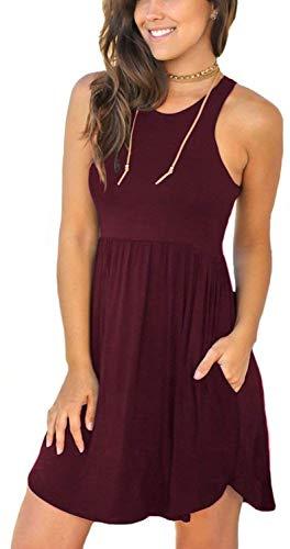 YUNDAI Women's Short Sleeve Summer Casual Sundress Swimsuit Short Dress with Pockets M Wine Red