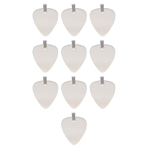 10 PCS Stainless Steel Guitar Pick Charms for Jewelry Making, Engravable Blank Guitar Pick Pendants DIY Craft Kit for Necklace Making, Rock Music Accessories, Keychains