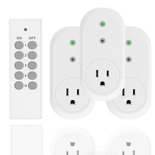 UCOMEN Remote Control Outlet Switch Power Plug in for Household Appliances, Wireless Remote Light Switch, LED Light Bulbs, White (1 Remote +3 Outlet) 1875W