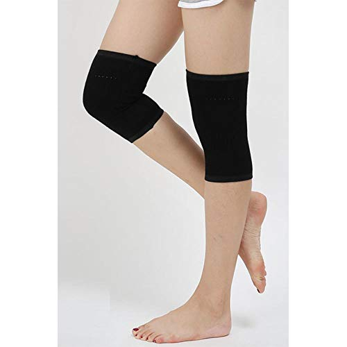 Piore Women Wool Light Weight Warm Knee Sleeve Solid Winter Coldproof Warm Knees Wool Knitted Kneecap Knee Protectors Leg Warmers,Black