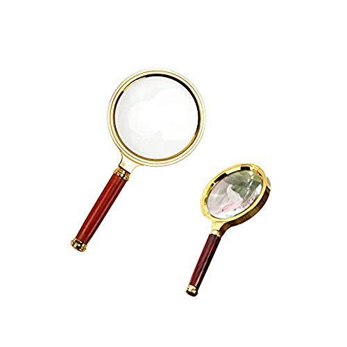 Magnifier Magnifying Glass,10X Lente D'ingrandimento per Ingrandire Portatile Polso Legno per Lettura, Esplorazione, Ispezione, Mappe del Mondo, Giornale(80mmx1,60mmx1)