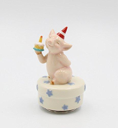 Cosmos Gifts Fine Porcelain Pig Piglet Piggy Folding Up Happy Birthday Cake Music Box Figurine (Tune: Happy Birthday), 4 7/8' H