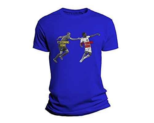 Overthetee Tshirt Nazionale Italiana - Campioni D'Europa 2021 - It's Coming to Rome - It's Coming Home - Parodia - Champions 2021 - Forza Italia - Tshirt Calcio Uomo - Tshirt Nazionale