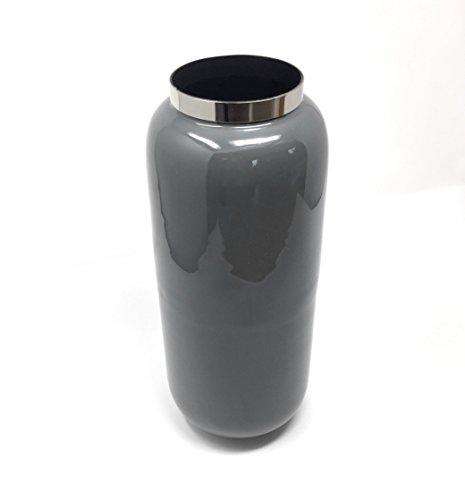SoulSisters Living Vaso per Fiori 30 cm, Grigio Metallizzato Moderno Vaso Argento: M (14 x 30 x 14 cm) in Ferro Laccato