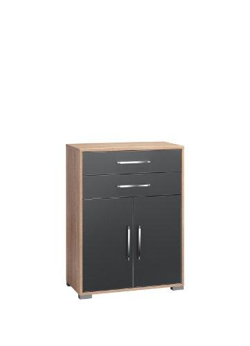 MAJA-Möbel 1227 2574 Aktenregal mit Schubladen und Türen, Sonoma-Eiche-Nachbildung - grau Hochglanz, Abmessungen BxHxT: 80 x 109,7 x 40 cm
