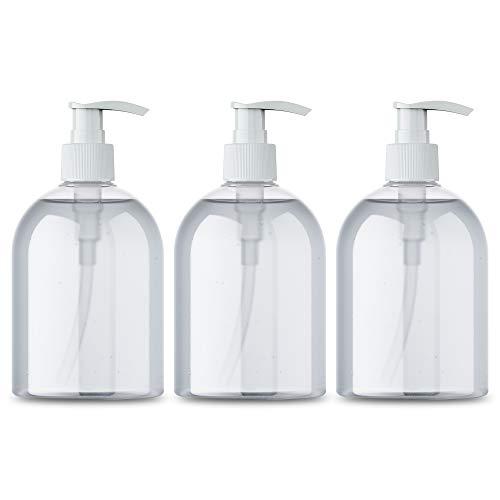 Eva & Co Pumpflaschenspender - 3er Pack 500ml nachfüllbarer Shampoo und Conditioner Spender - Premium Qualität Seifenspender Pumpe - Transparentes und edles Design - Praktisch und Reisefreundlich