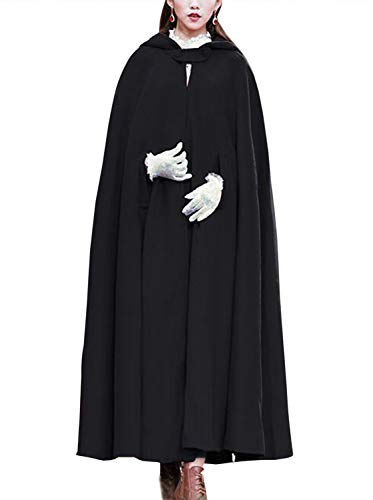 Gihuo Women's Wool Hooded Cape Solid Color Maxi Cloak Trench Coat (Black, One Size)