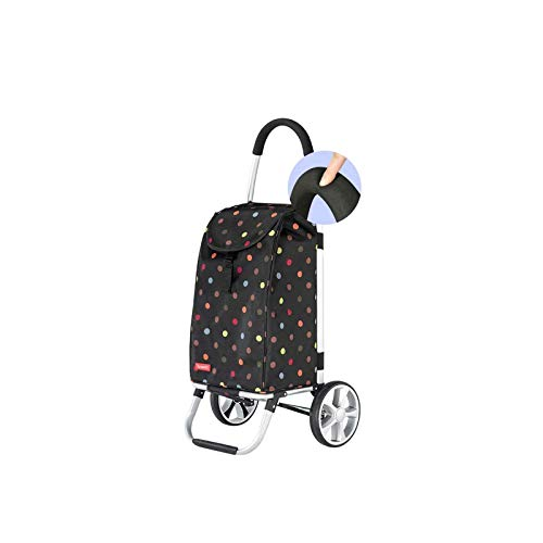 ZLHW Shopping Trolleys Bag Portable Foldable Trolley Household Outing Aluminum Alloy Saving Shopping Cart Multifunctional Shopping Cart Color : Black
