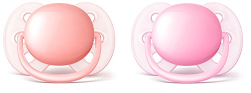 Philips Avent Ultra Soft Pacifier 06 Months Pink/Peach 2 Pack SCF213/20