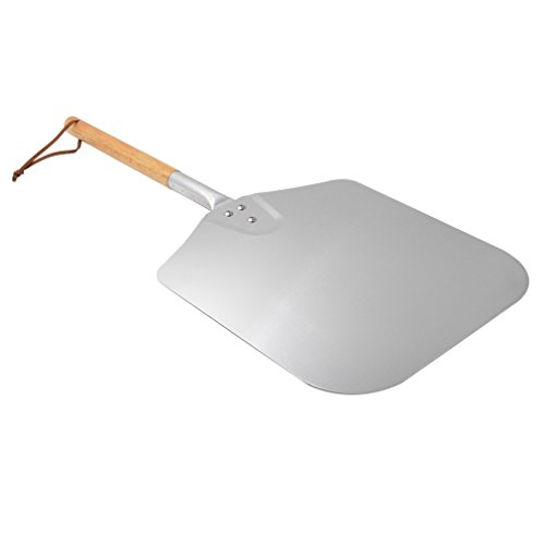 Onlyfire Metal Pizza Peel with Wooden Handle for Indoor & Outdoor Grill Oven, 12 x 14 inch Pizza Baking Spatula Paddle for Baking Bread Pies Cookies