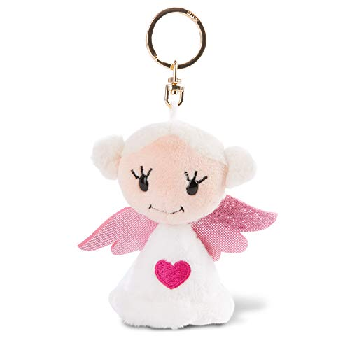 """NICI 47060 Porte-clés Ange Gardien """"Love You"""" 9 cm – Porte clef fille anges porte-bonheur avec cœur – Animal en peluche doté d'une attache pour cordon, trousseau et porte-clés"""